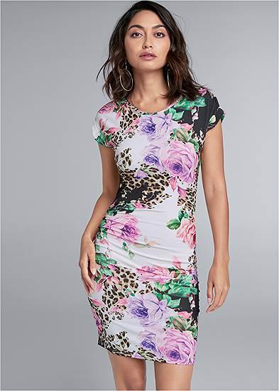 Printed Ruched T-Shirt Dress
