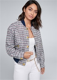 Cropped front view Tweed Bomber Jacket