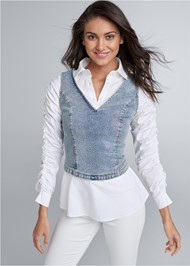 Cropped front view Denim Twofer Top