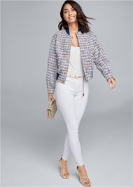 Full front view Tweed Bomber Jacket