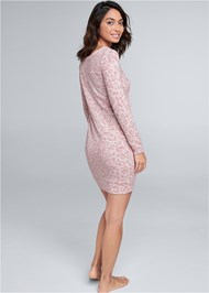 Full back view Cozy Hacci Lace Up Sweatshirt Dress