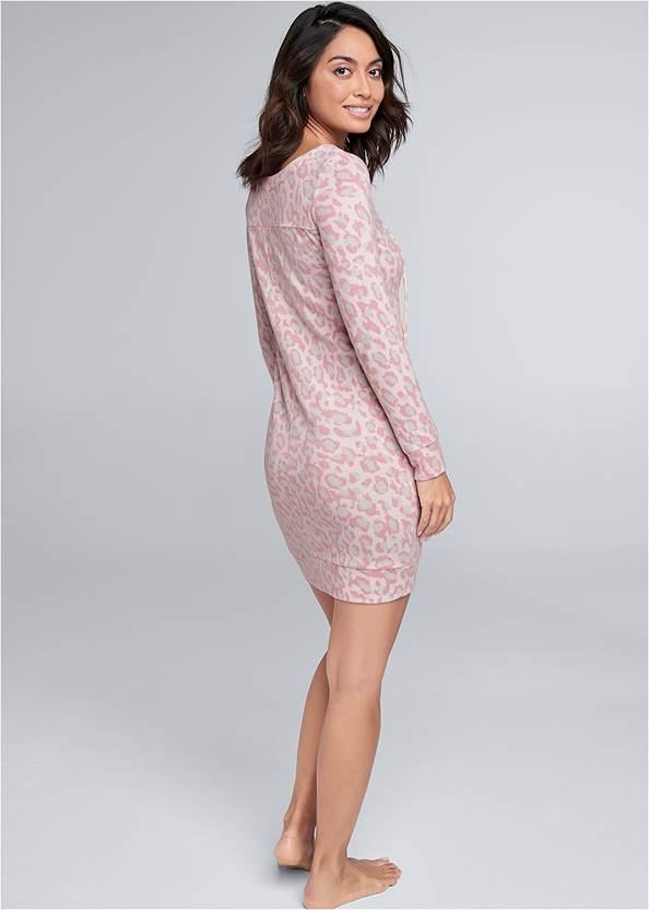 Full back view Cozy Hacci Lace Up Sweatshirt Dress