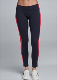 Front View Striped Lounge Legging