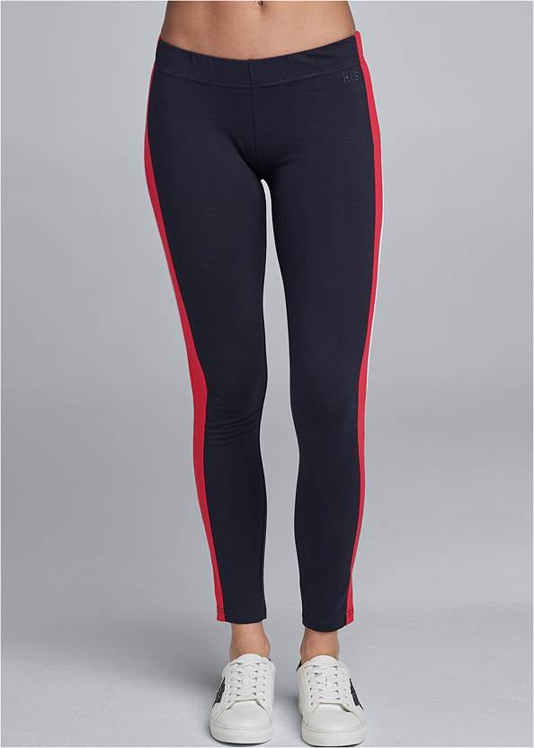 Front View Striped Lounge Leggings