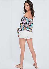 Back View Flare Sleeve Printed Top
