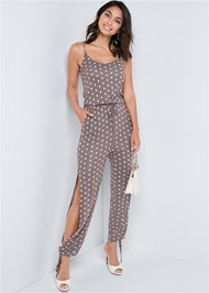 Front View Polka Dot Jumpsuit
