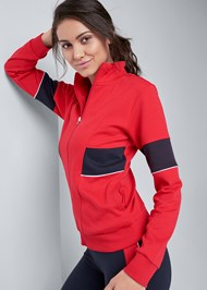 Front View Performance Color Block Jacket