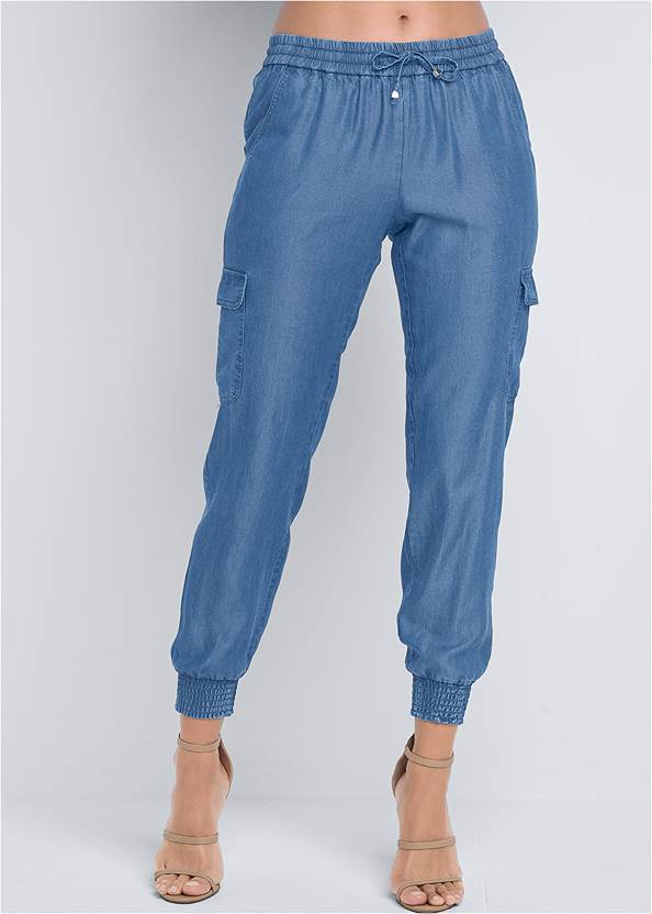 Cropped Front View Chambray Joggers