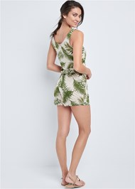 Back View Palm Printed Romper
