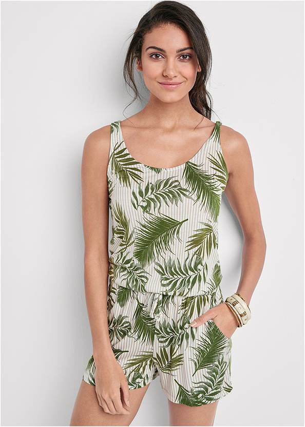 Cropped Front View Palm Printed Romper