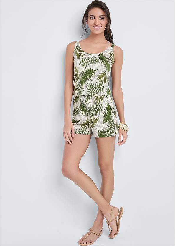 Full Front View Palm Printed Romper