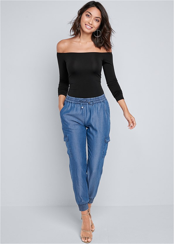 Chambray Joggers,Off The Shoulder Top,High Heel Strappy Sandals