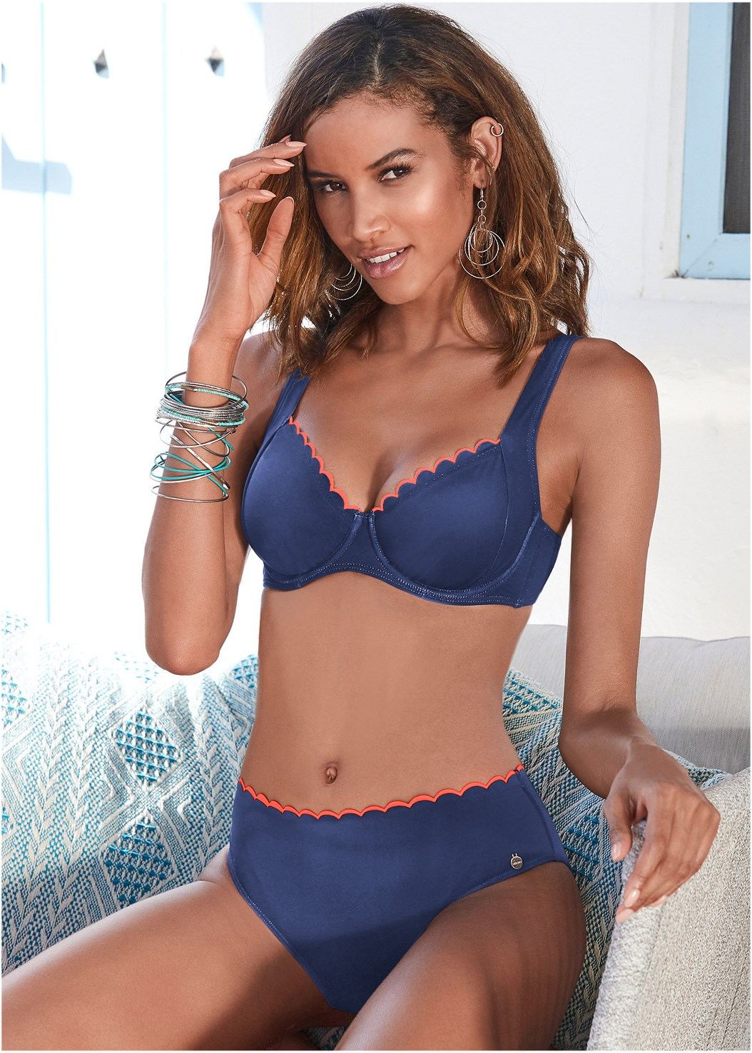 Scalloped Underwire Top,Scalloped Mid Rise Bottom