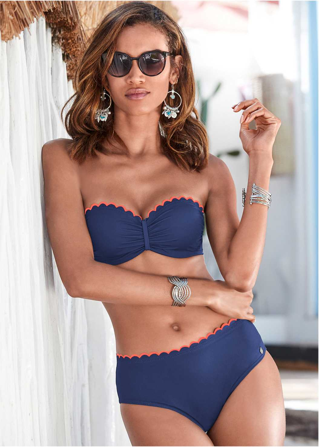 Scalloped Bandeau Top,Scalloped Mid Rise Bottom