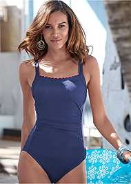 Front View Scalloped One-Piece