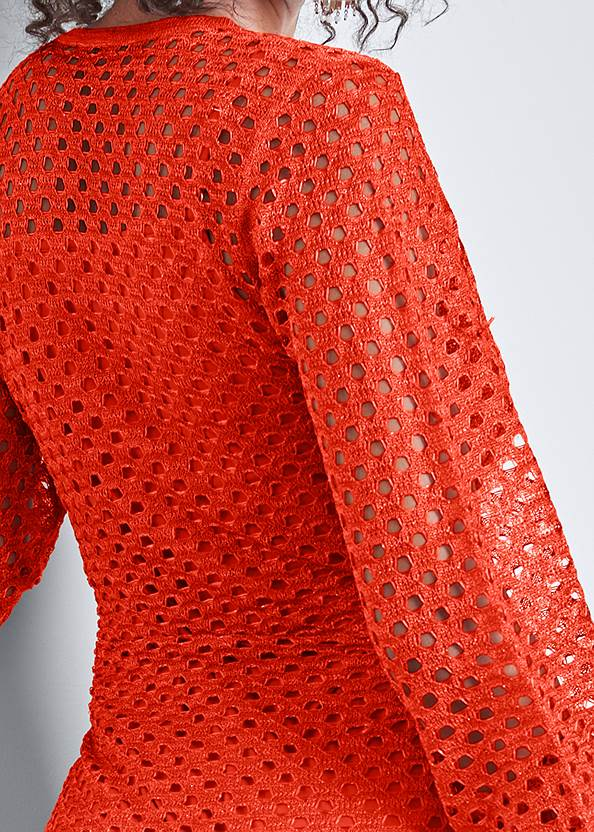 Detail front view Open Knit Maxi Sweater Dress