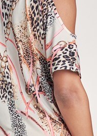 Alternate View Slit Detail Printed Top