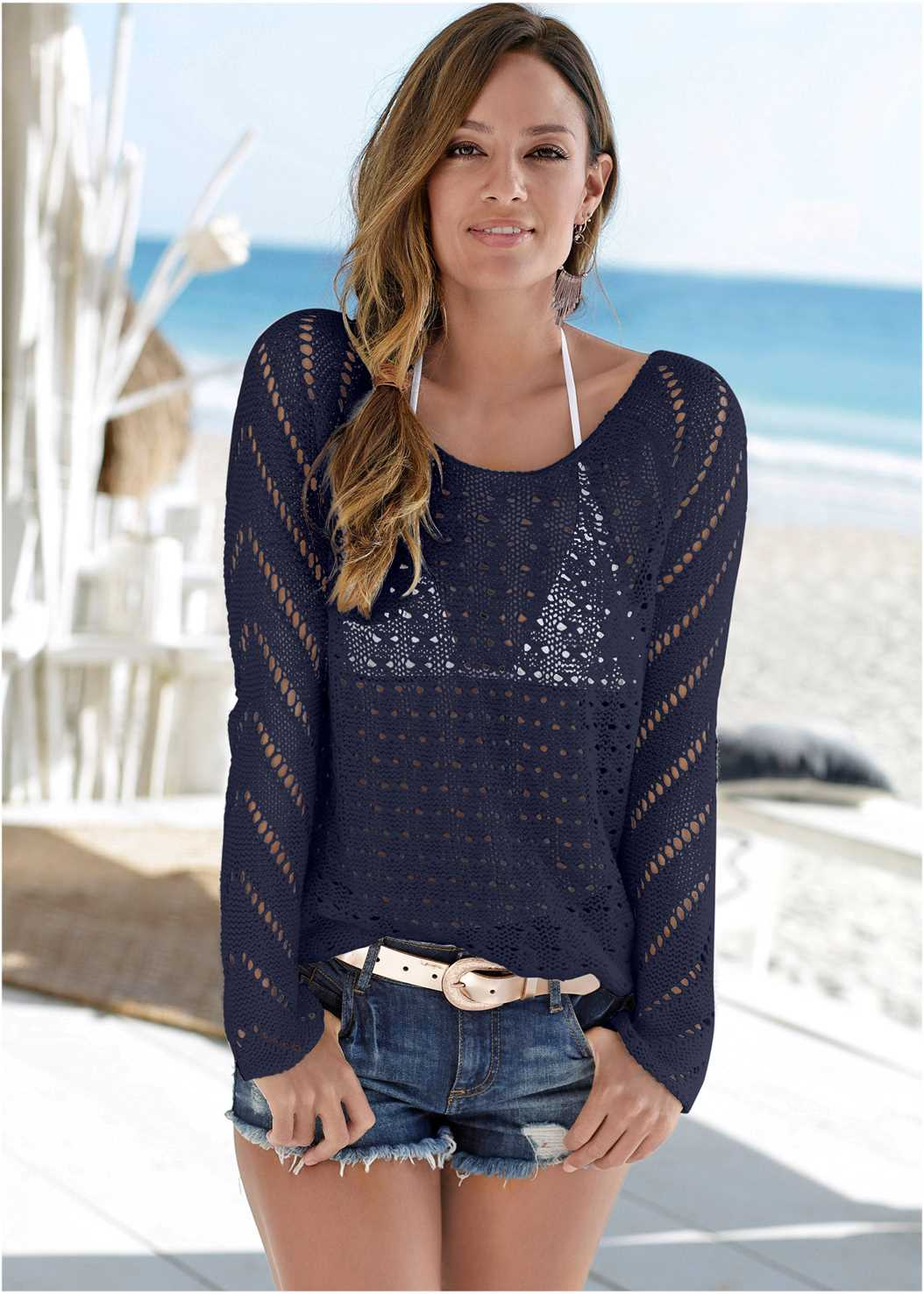 Open Knit Sweater,Basic Cami Two Pack,Triangle String Bikini Top,Strapless Bra With Geo Lace,Triangle Hem Jeans,Distressed Jean Shorts,Rhinestone Thong Sandal