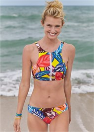 Front View High Neck Zip Up Bikini Top