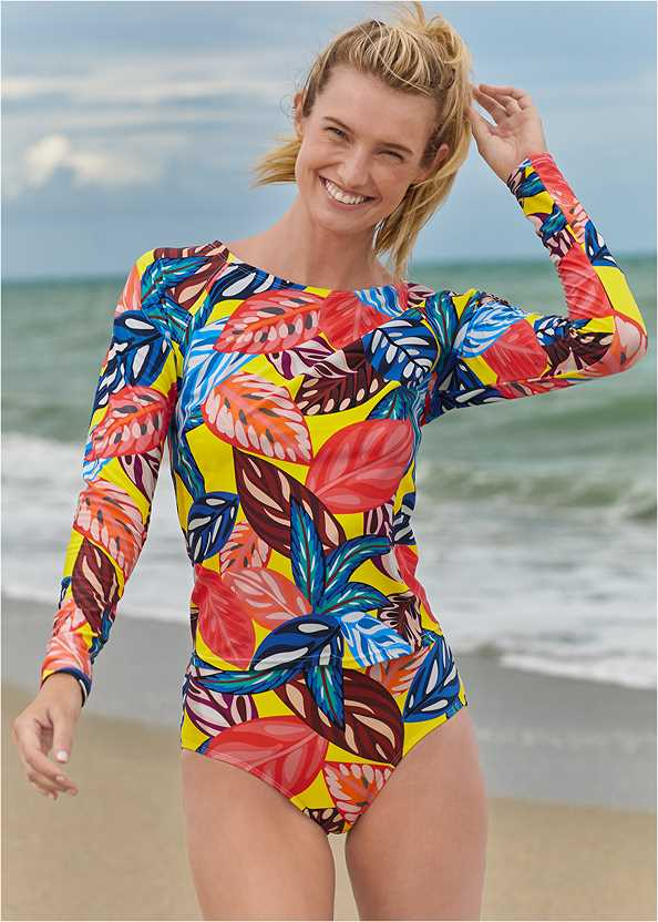Long Sleeve Rash Guard,Heavenly Halter Top,High Waist Bottom,Mid Rise Bikini Bottom,Crisscross One-Piece,Embellished Rope Sandals,Multi Color Crochet Bag