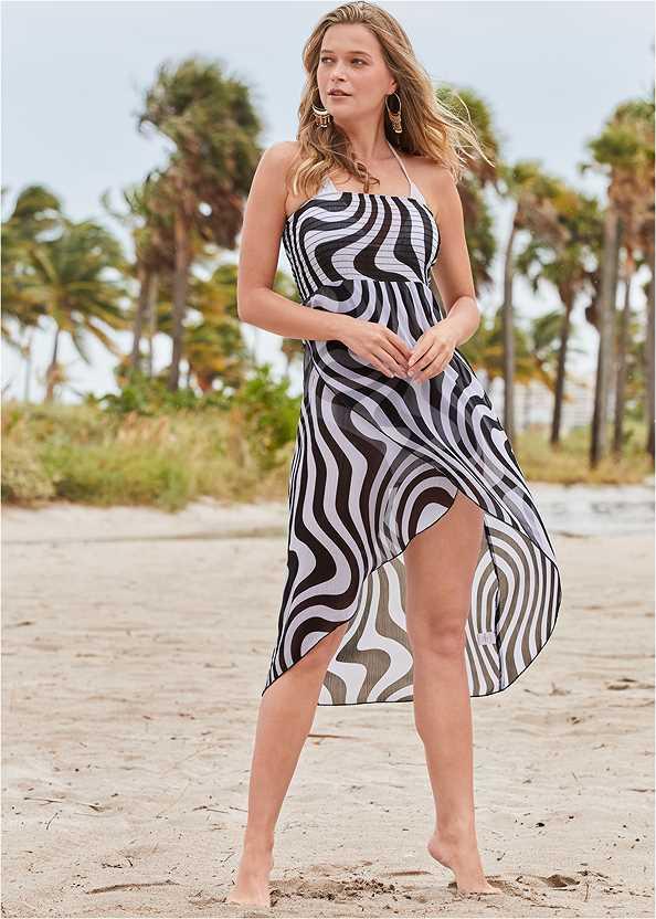 Convertible Cover-Up Dress,Triangle String Bikini Top,Scoop Front Classic Bikini Bottom ,Low Rise Classic Bikini Bottom ,Woven Handbag