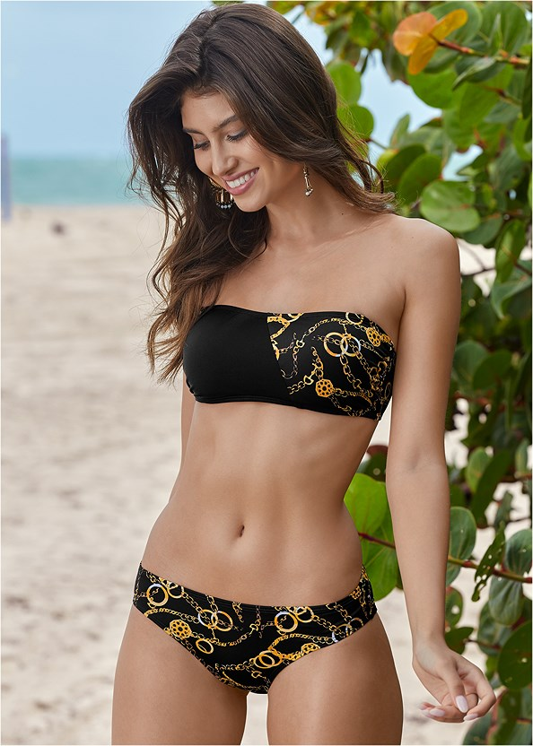 Bon Voyage Bandeau Top,By The Sea Bottom,Scoop Front Classic Bikini Bottom ,Low Rise Classic Bikini Bottom ,All Day Banded Bottom,All Day High Rise Bottom,Pleated Cover-Up Pant,Espadrille Platform Wedges,Bauble Fringe Earrings