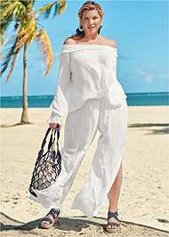 Front View Off Shoulder Cover-Up Top