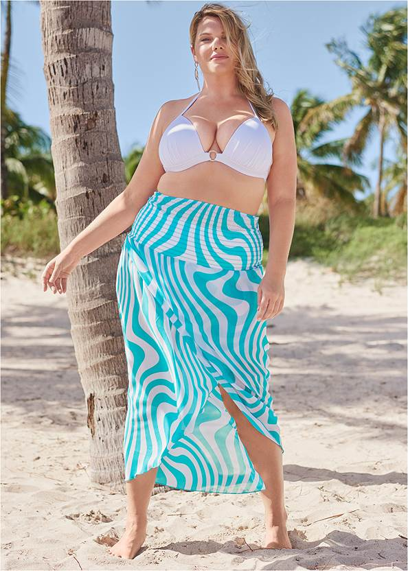 Convertible Cover-Up Dress,Enhancer Triangle Top ,Crisscross One-Piece