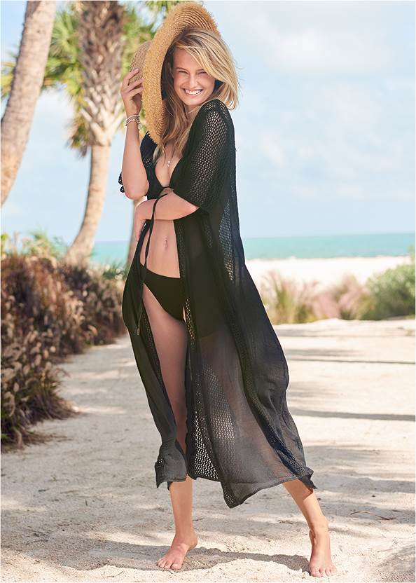 Crochet Duster Cover-Up,Sally Underwire Ring Top,Sally Mid-Rise Bottom,Spellbound Monokini,Stars Stones Layered Necklace