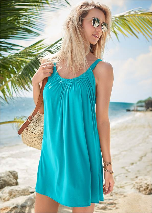 Gathered Neckline Cover-Up Dress,Bejeweled Triangle Top,Marilyn Underwire Push Up Halter Top,Bejeweled Banded Bottom,Low Rise Classic Bikini Bottom