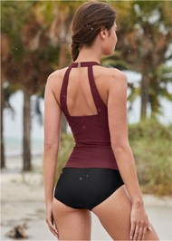 Cropped back view Slimming Ruched One-Piece