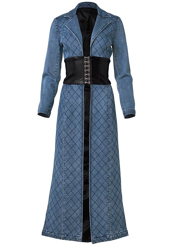 Alternate View Quilted Detail Jean Trench With Faux Leather