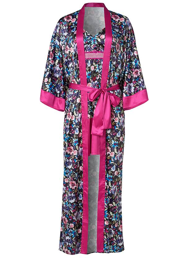 Ghost with background  view Satin Robe Chemise Set