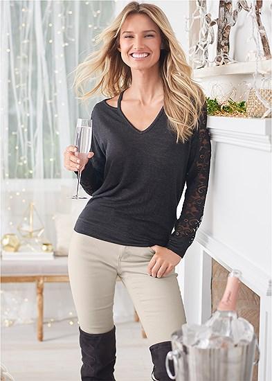 Lace Sleeve Sweatshirt
