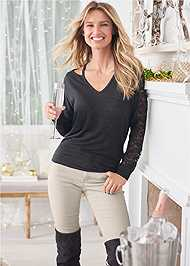 Front View Lace Sleeve Sweatshirt