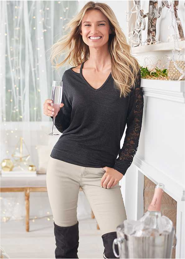 Lace Sleeve Sweatshirt,Mid Rise Color Skinny Jeans,Washed Kick Flare Jeans,Seamless Unlined Bra,Over The Knee Stretch Boots