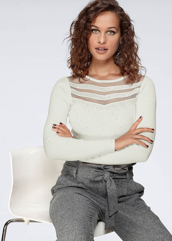 Mesh Detail Sweater,Mid Rise Color Skinny Jeans,Side Zipper Jeans,Embroidered Skinny Jeans,Sexy Ankle Strap Heels