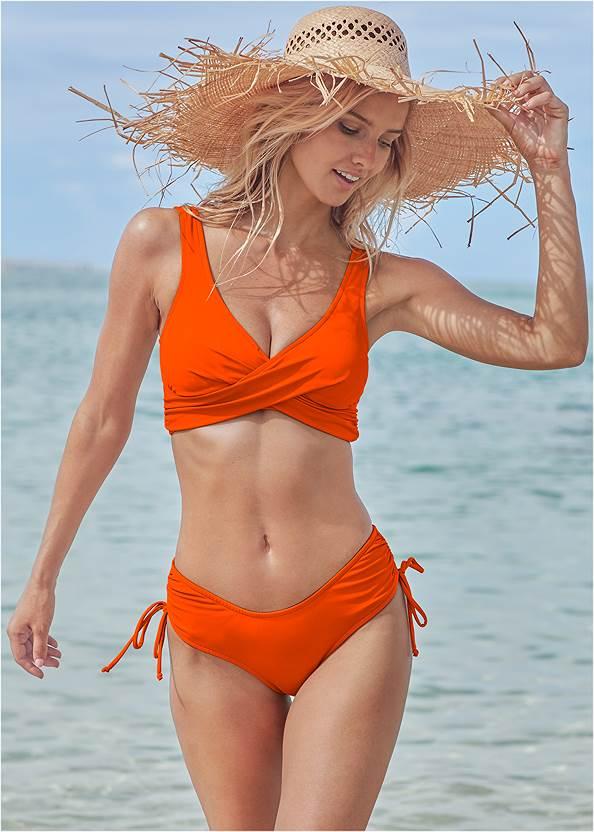 Lovely Lift Wrap Bikini Top,The Magnolia Moderate Bottom,Scoop Front Classic Bikini Bottom ,Low Rise Classic Bikini Bottom ,Goddess Mid Rise Bottom,String Side Bikini Bottom,Strappy Maxi Dress,Striped Straw Tote