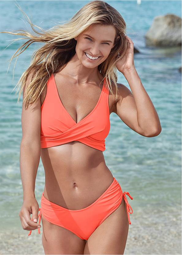 The Magnolia Moderate Bottom,Lovely Lift Wrap Bikini Top,Marilyn Underwire Push Up Halter Top,Triangle String Bikini Top,Misty Macrame Enhancer Bra Top,Side Slit Cover-Up Jumpsuit,Natural Tassel Clutch