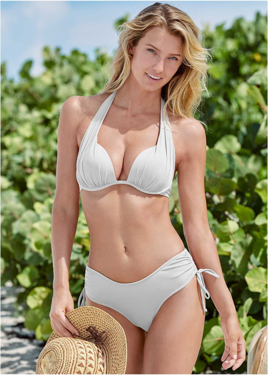 Marilyn Underwire Push Up Halter Top,The Magnolia Moderate Bottom,Scoop Front Classic Bikini Bottom ,Low Rise Bikini Bottom,String Side Bikini Bottom,Ultra High Waist Bottom,Pull On Tunic,Embellished Sandals,Leaf Earring Set,Net Bag
