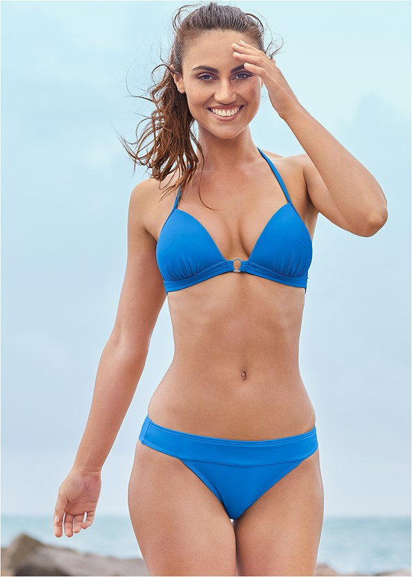 Banded Moderate Swim Bottom,Enhancer Push Up Ring Halter Triangle Top ,Jillian Underwire Top,Triangle String Bikini Top