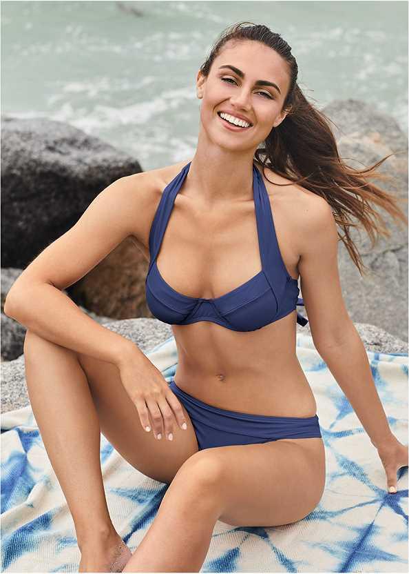 Banded Moderate Swim Bottom,Jillian Underwire Top,Enhancer Push Up Ring Halter Triangle Top ,Triangle String Bikini Top