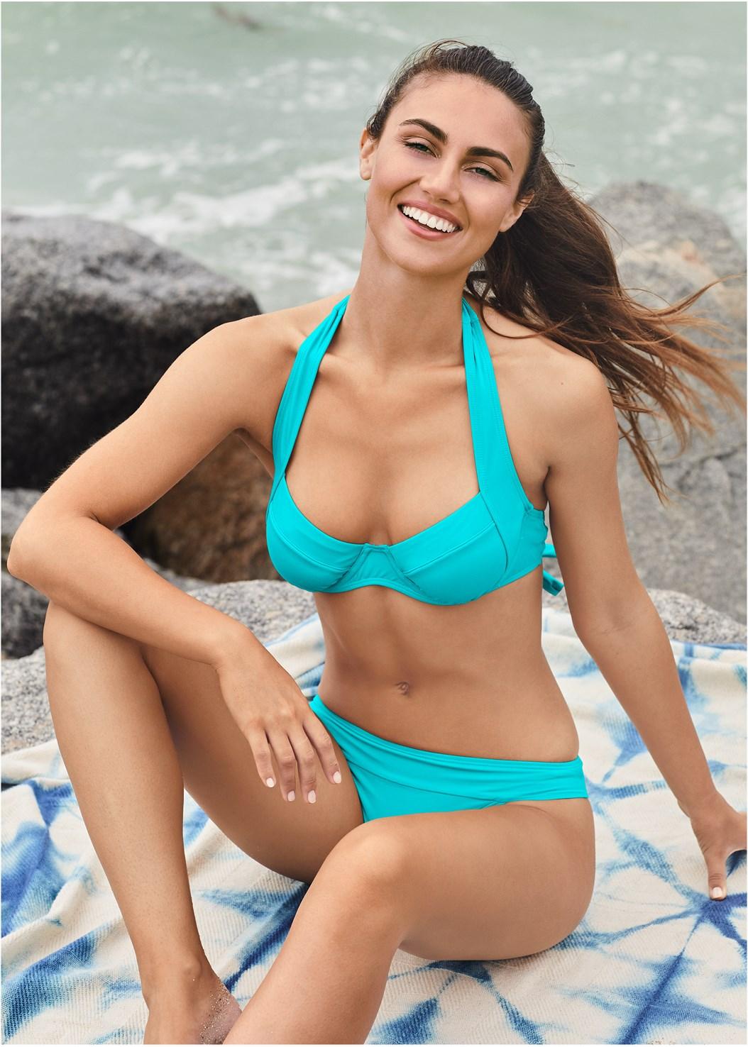Banded Swim Bottom,Jillian Underwire Top,Enhancer Push Up Ring Halter Triangle Top ,Goddess Enhancer Push Up Halter Top