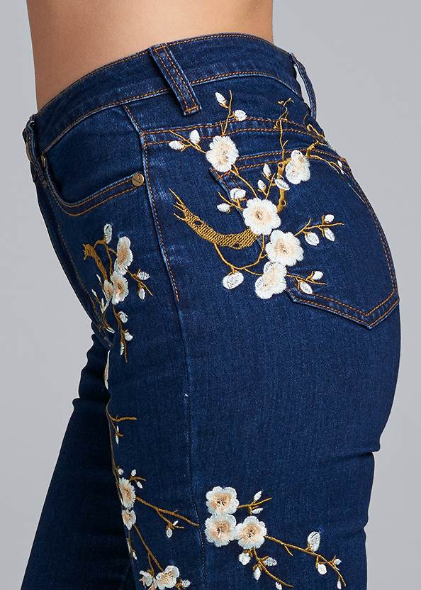 Alternate View Floral Embroidered Skinny Jeans