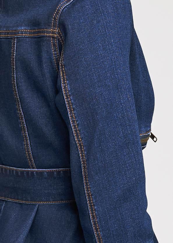 Detail back view Ruffle Hem Jean Jacket