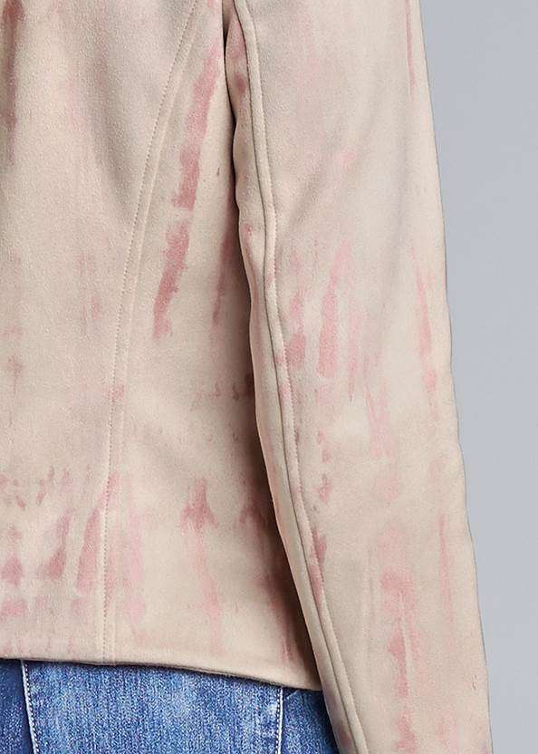 Detail back view Tie Dye Faux Suede Jacket