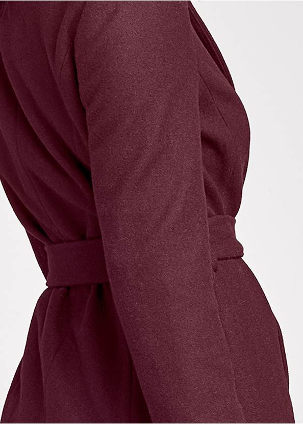 Detail back view Belted Faux Wool Coat