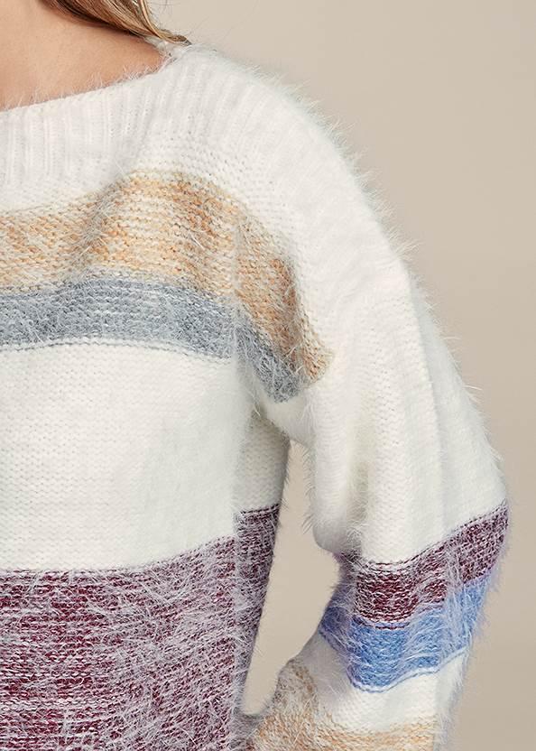 Detail front view Striped Eyelash Sweater