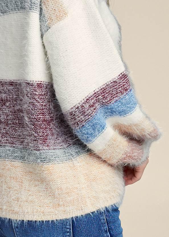 Detail back view Striped Eyelash Sweater