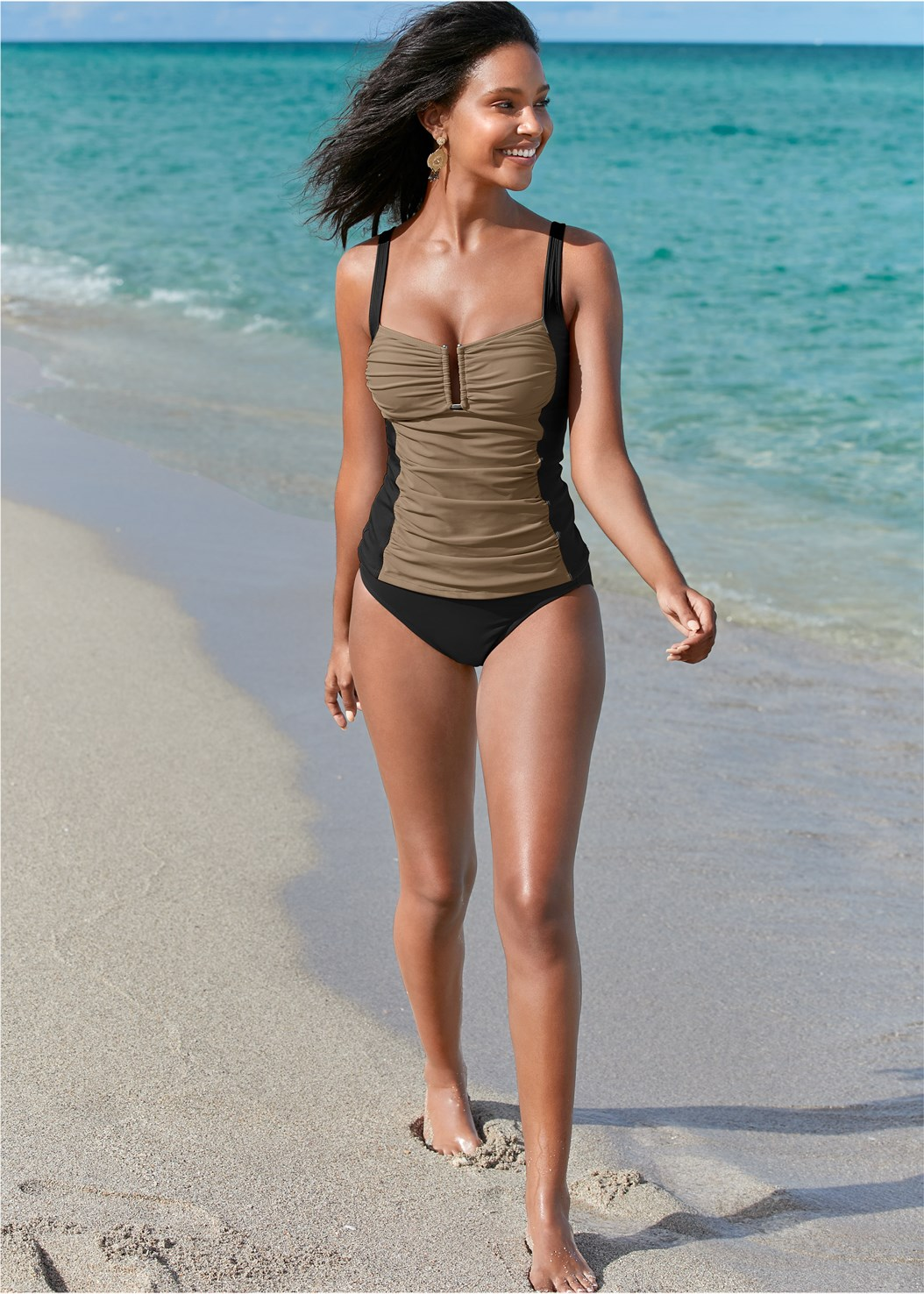 Slenderizing Tankini Top,Mid Rise Hipster Classic Bikini Bottom,Full Coverage Mid Rise Hipster Bikini Bottom,Swim Short,Mesh Trimmed Cover-Up Dress,Circular Straw Bag